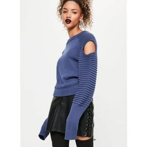 Missguided ribbed balloon sleeve knitted sweater